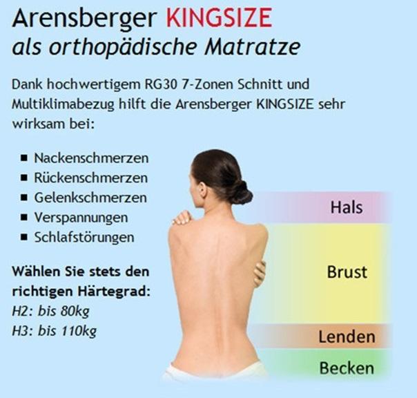 Arensberger Kingsize die orthopädische Matratze