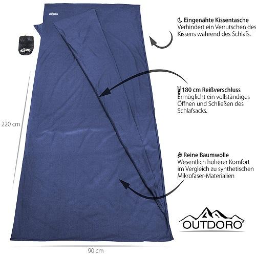 Outdoro Hüttenschlafsack Features