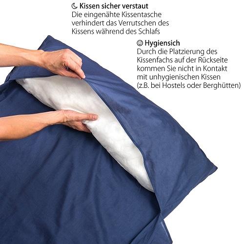 Outdoro Hüttenschlafsack mit Kissenfach