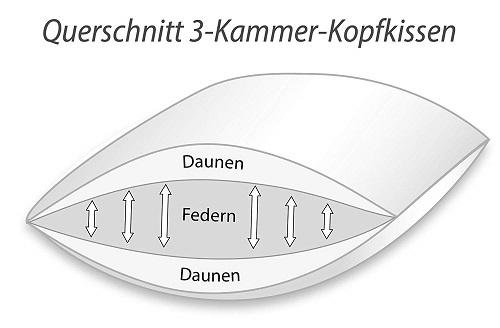 Klosterdorf Kopfkissen funktionell 3 Kammer Querschnitt